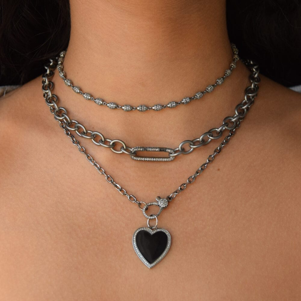 Black Enamel + Diamond Heart Charm