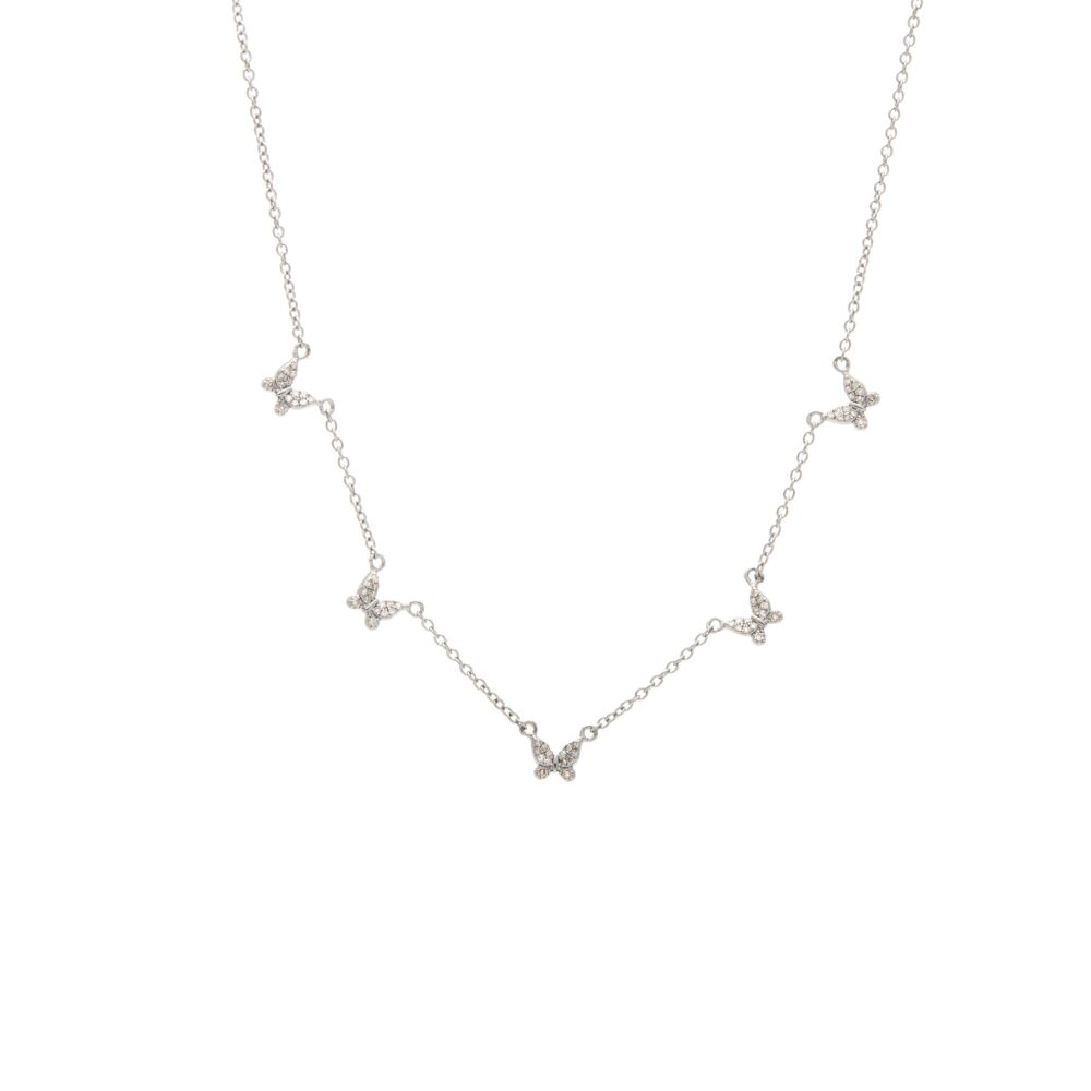Diamond 5 Butterfly Necklace Sterling Silver
