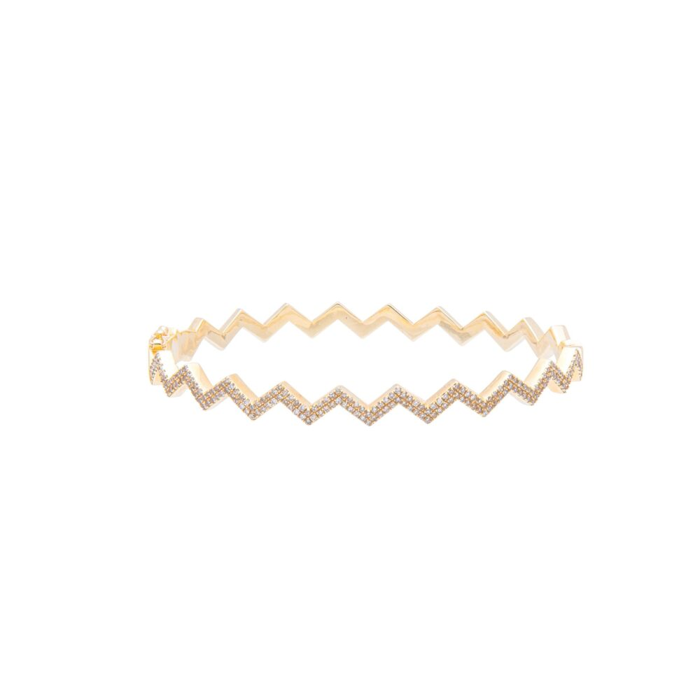 Diamond Zig-Zag Bangle Yellow Gold