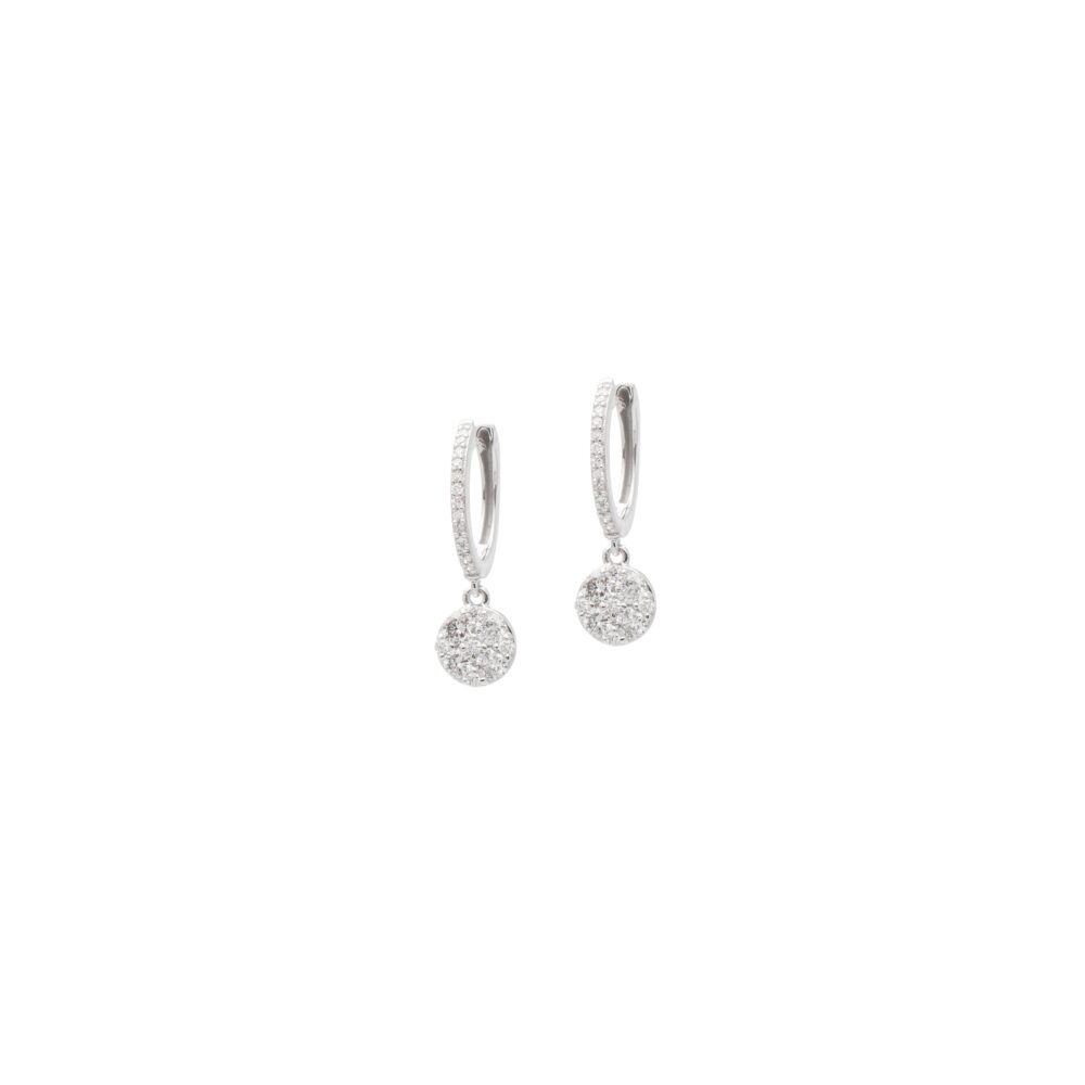 Diamond Drop Circle Dangle Huggies White Gold