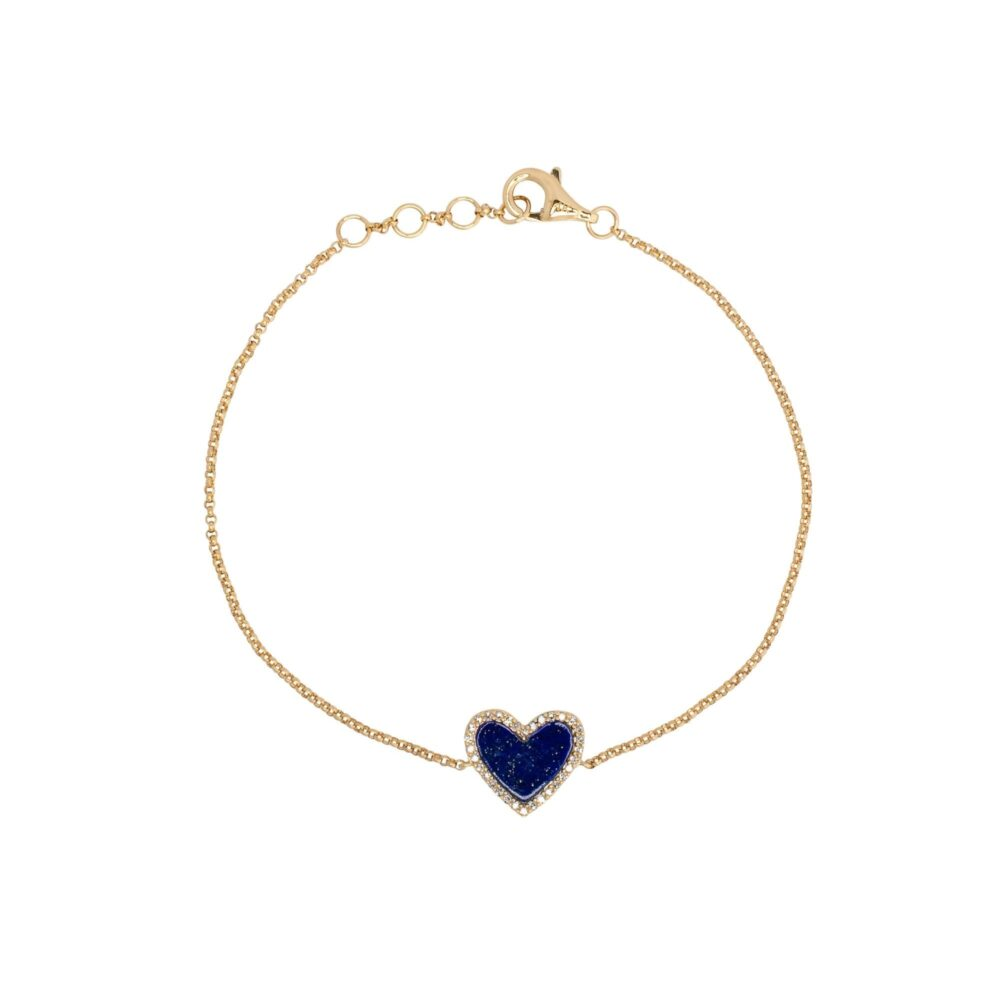 Diamond Mini Lapis Heart Bracelet Yellow Gold