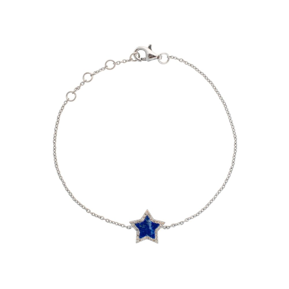 Diamond Mini Lapis Star Bracelet Sterling Silver