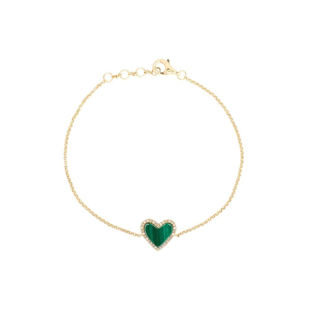 Diamond Mini Malachite Heart Bracelet Yellow Gold