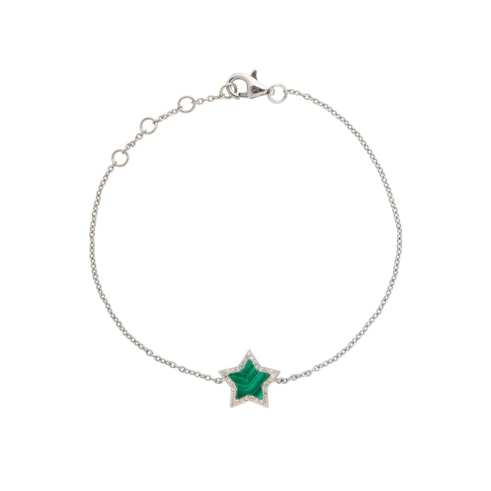Diamond Mini Malachite Star Bracelet Sterling Silver