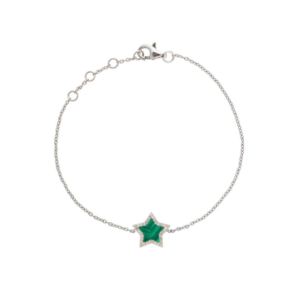 Diamond Mini Malachite Star Bracelet Sterling Silver