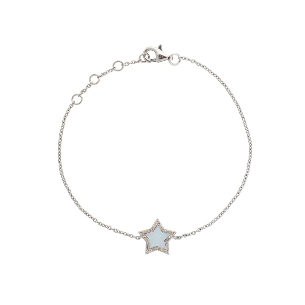 Diamond Mini Mother of Pearl Star Bracelet Sterling Silver