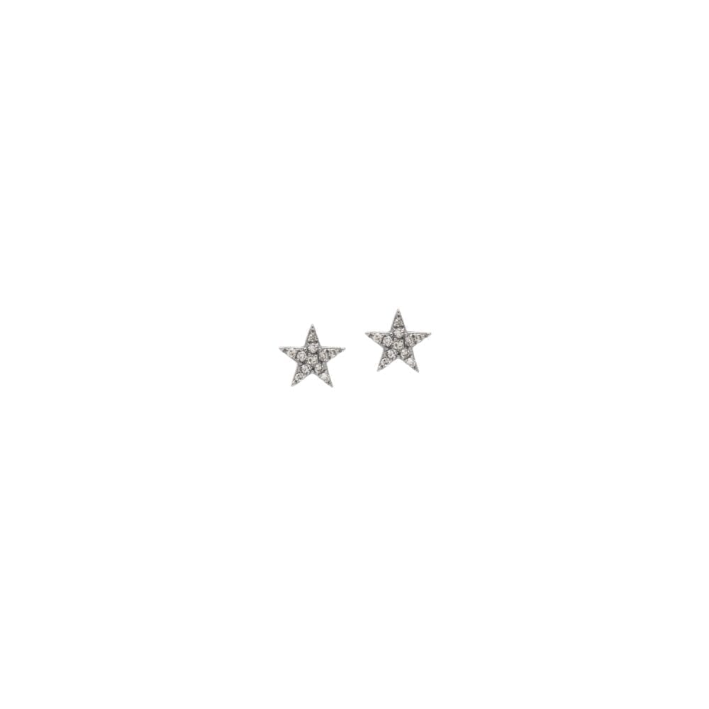 Diamond Mini Star Earrings Sterling Silver