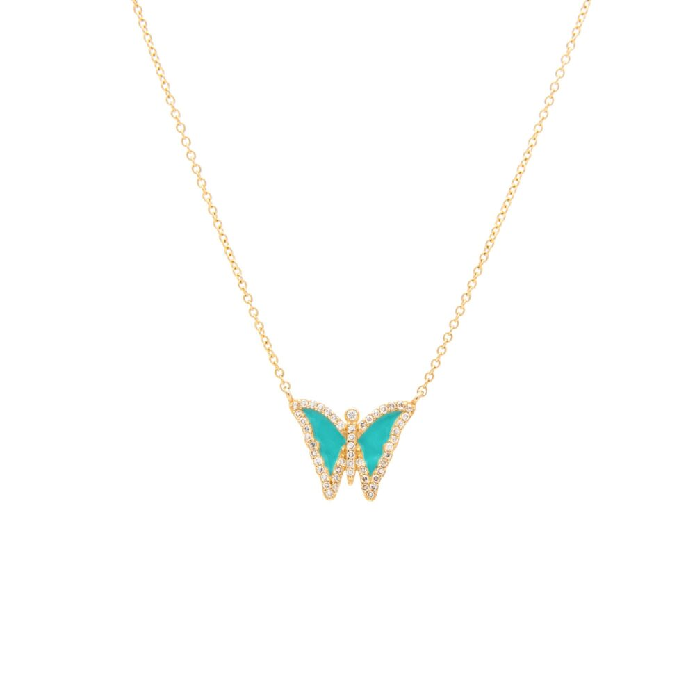 Diamond Mini Turquoise Enamel Butterfly Necklace Yellow Gold