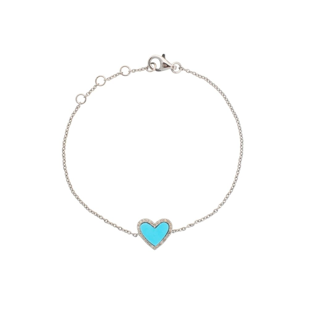Diamond Mini Turquoise Enamel Heart Bracelet Sterling Silver