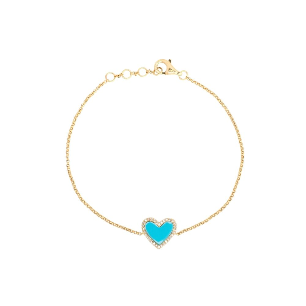 Diamond Mini Turquoise Enamel Heart Bracelet Yellow Gold