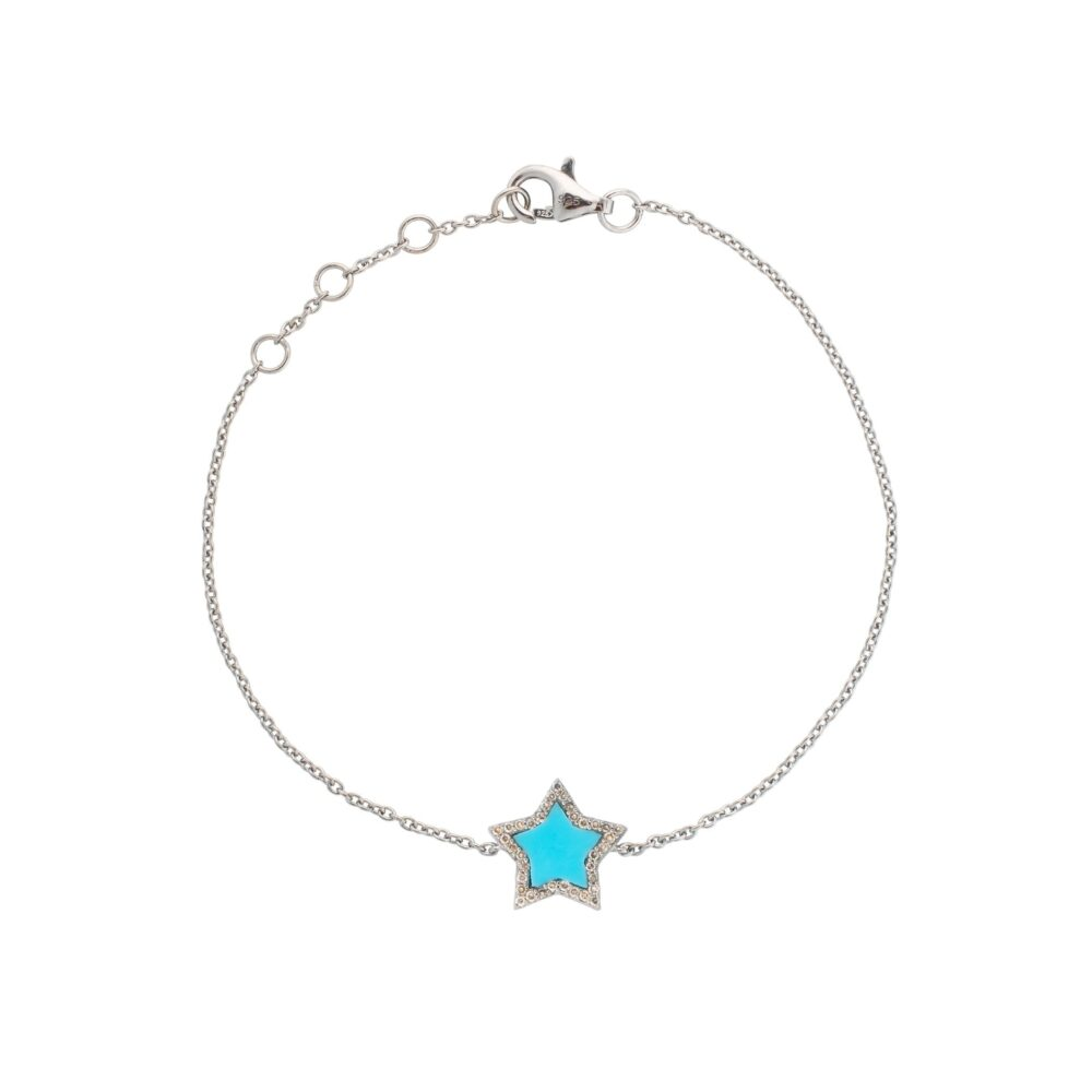 Diamond Mini Turquoise Enamel Star Bracelet Sterling Silver