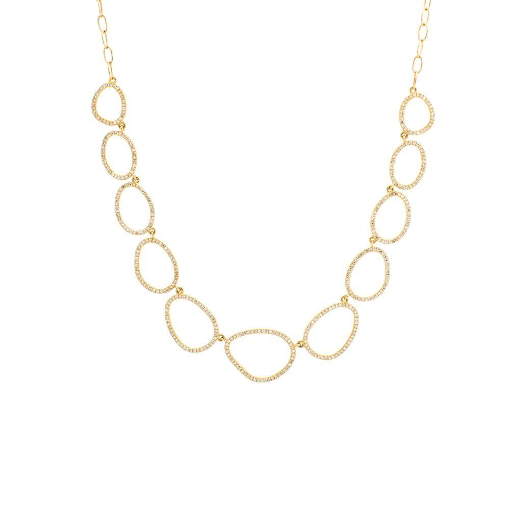 Diamond Open Pebble Link Necklace 14k Yellow Gold