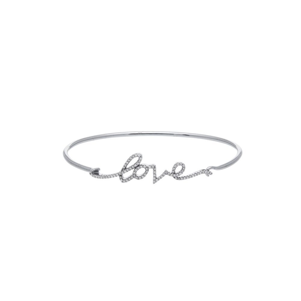 Diamond Script Love Wire Bangle Sterling Silver