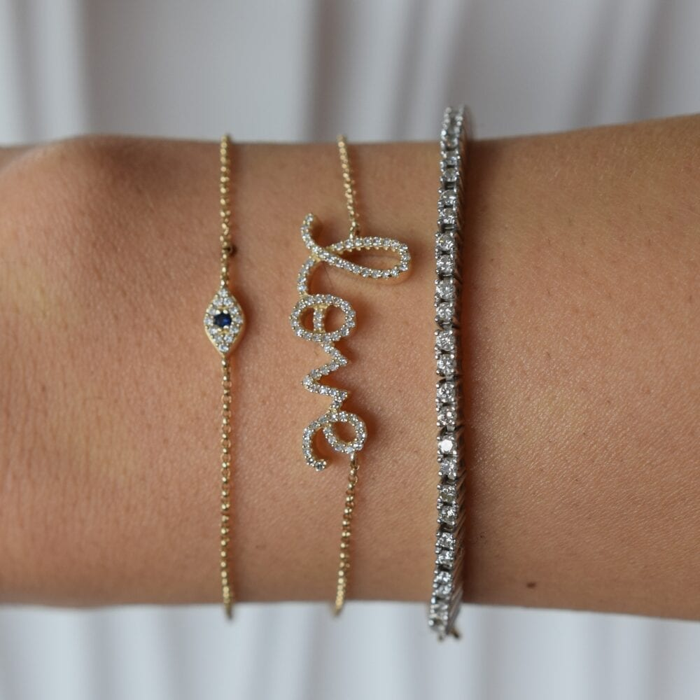 Diamond Tennis Paper Clip Chain Bracelet