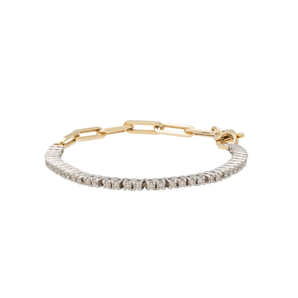 Diamond Tennis Paper Clip Chain Bracelet 14k Yellow Gold