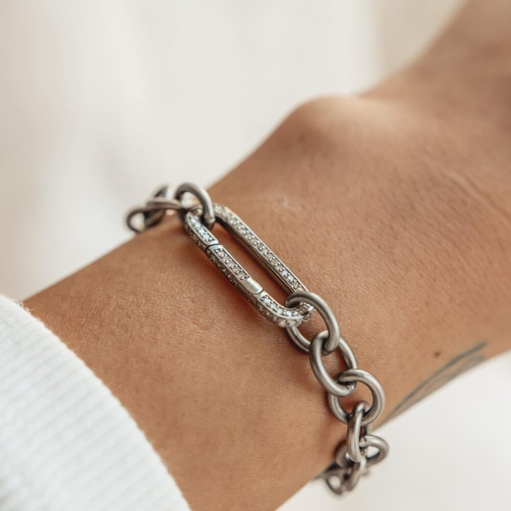 Medium Round Chain Link Bracelet + Pave Diamond Link Connector Clasp