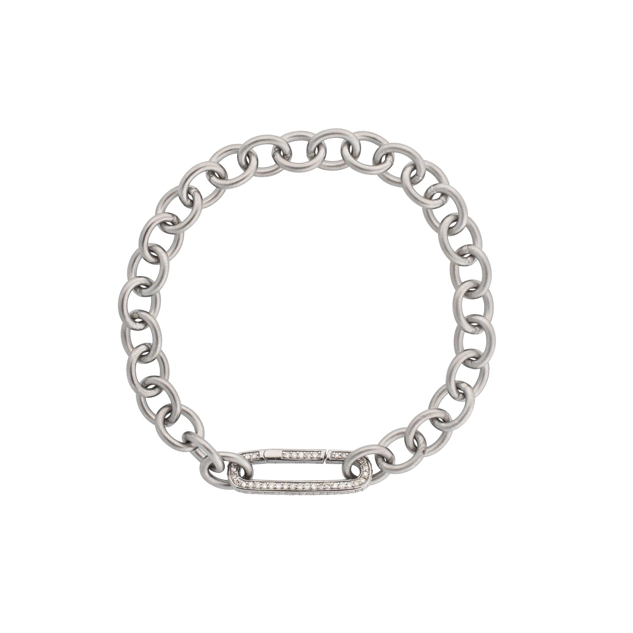 Medium Round Chain Link Bracelet + Pave Diamond Link Connector Clasp