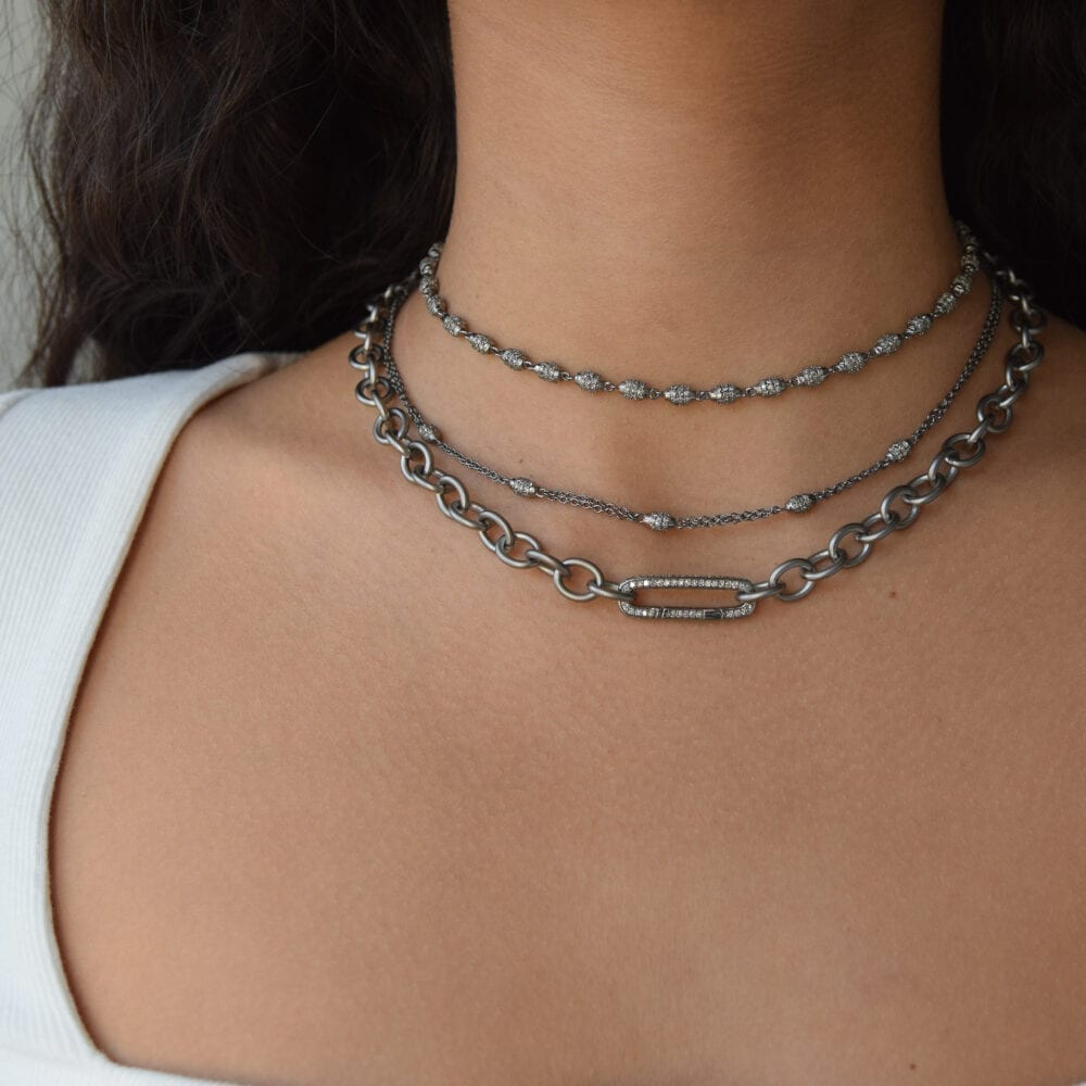 Medium Round Chain Link Necklace + Pave Diamond Link Connector Clasp
