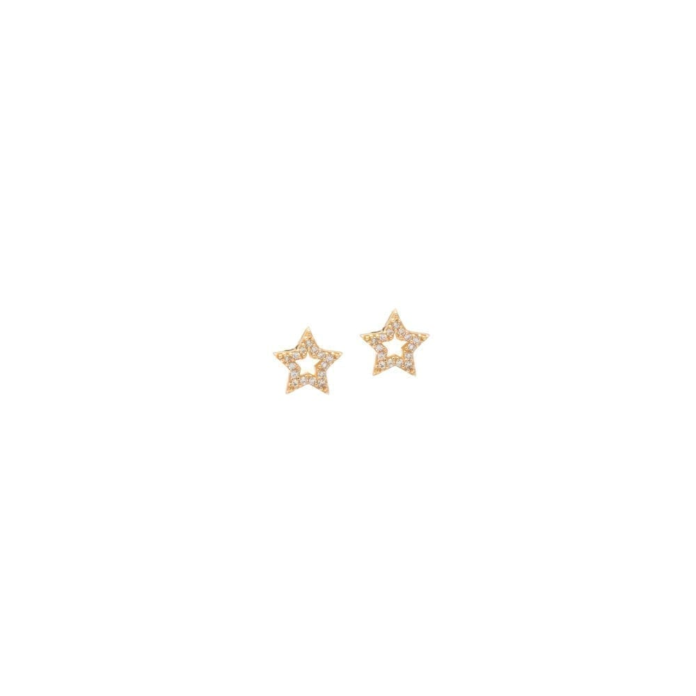 Mini Cutout Diamond Star Earrings Yellow Gold
