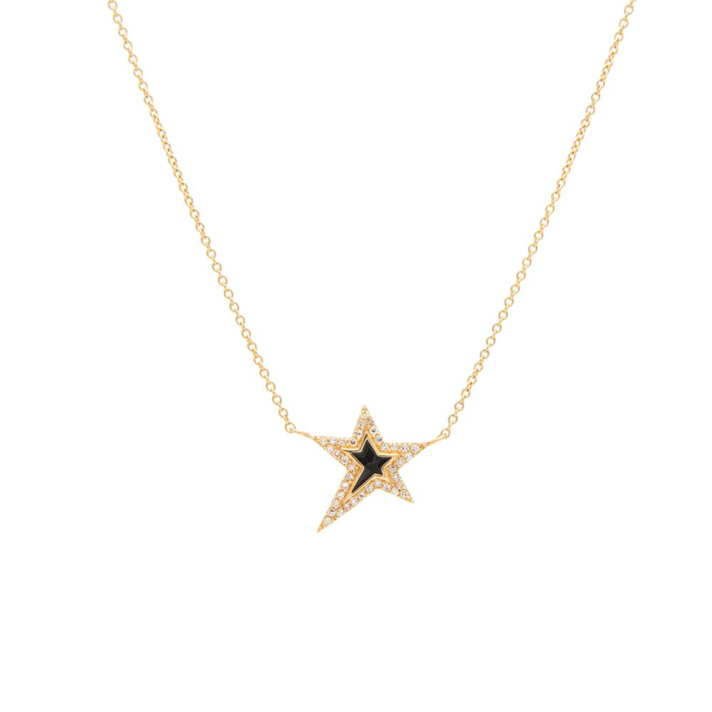 Mini Diamond Black Enamel Star Necklace Yellow Gold
