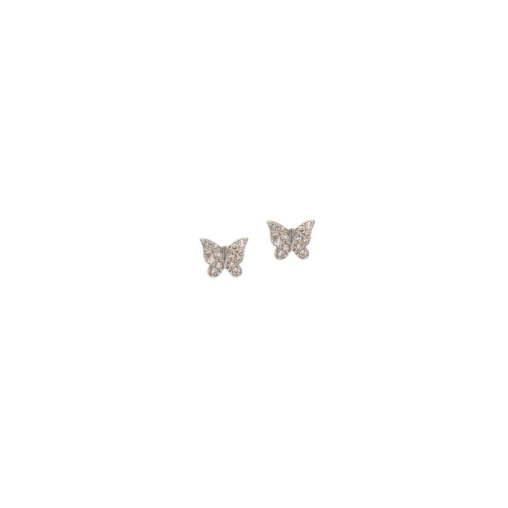 Mini Diamond Butterfly Earrings Sterling Silver