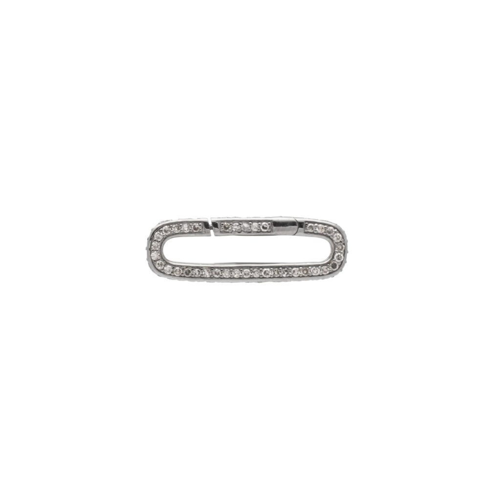 Pave Diamond Link Connector Clasp Sterling Silver Closed