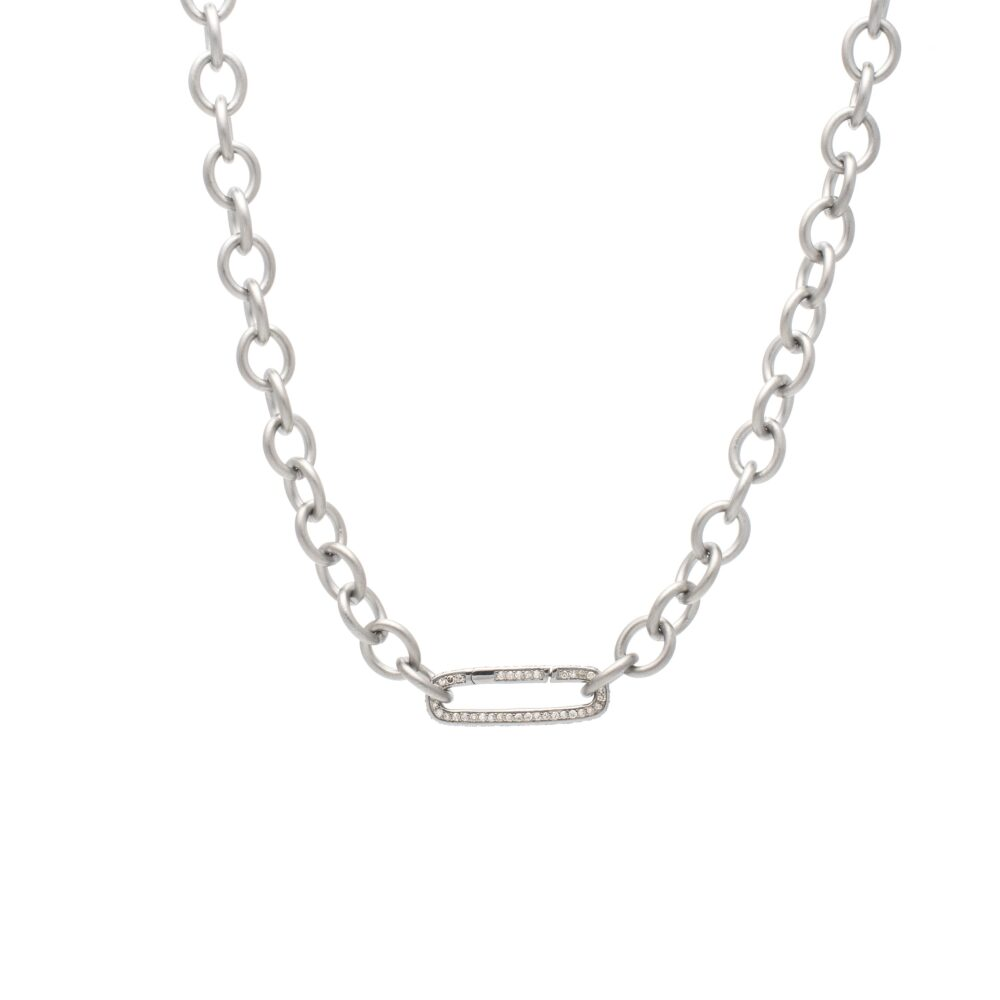 Small Round Chain Link Necklace + Pave Diamond Link Connector Clasp Sterling Silver