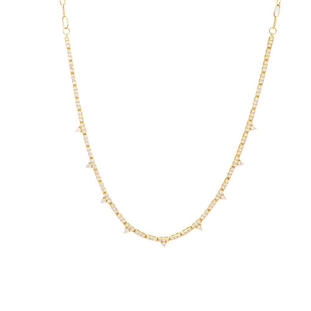 Tennis Necklace with Diamond Solitaires Yellow Gold