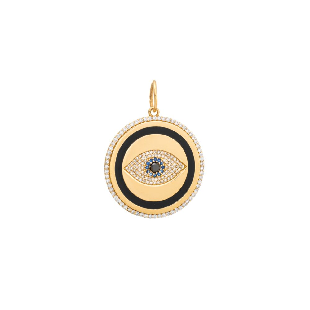 Diamond Black Enamel Evil Eye with Sapphires Pendant Gold