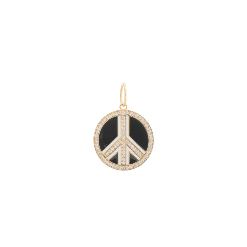 Diamond Black + White Enamel Peace Pendant Yellow Gold