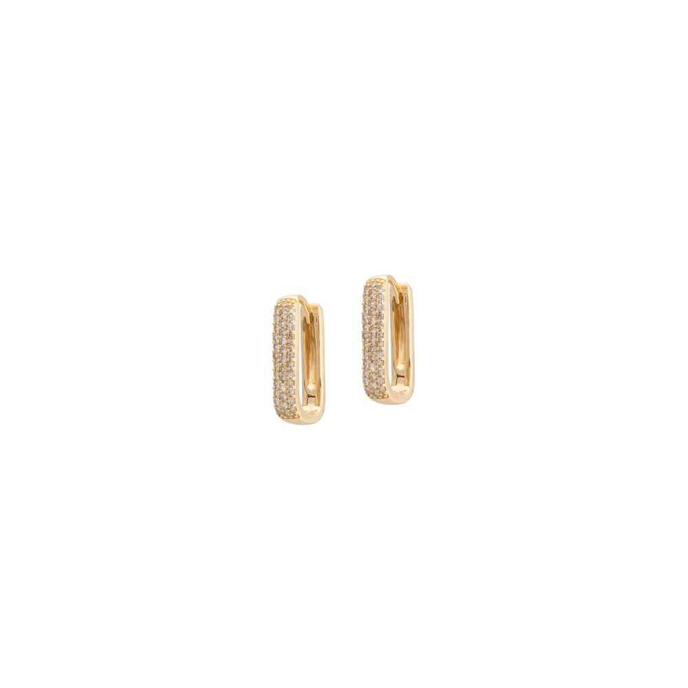 Diamond Chubby Rectangle Link Huggie Earrings Yellow Gold