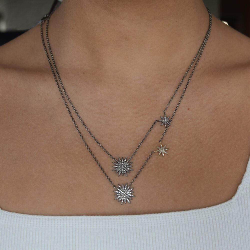 Diamond Double Starburst Necklace