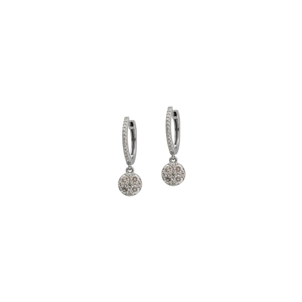 Diamond Drop Circle Dangle Huggies Rhodium Sterling Silver
