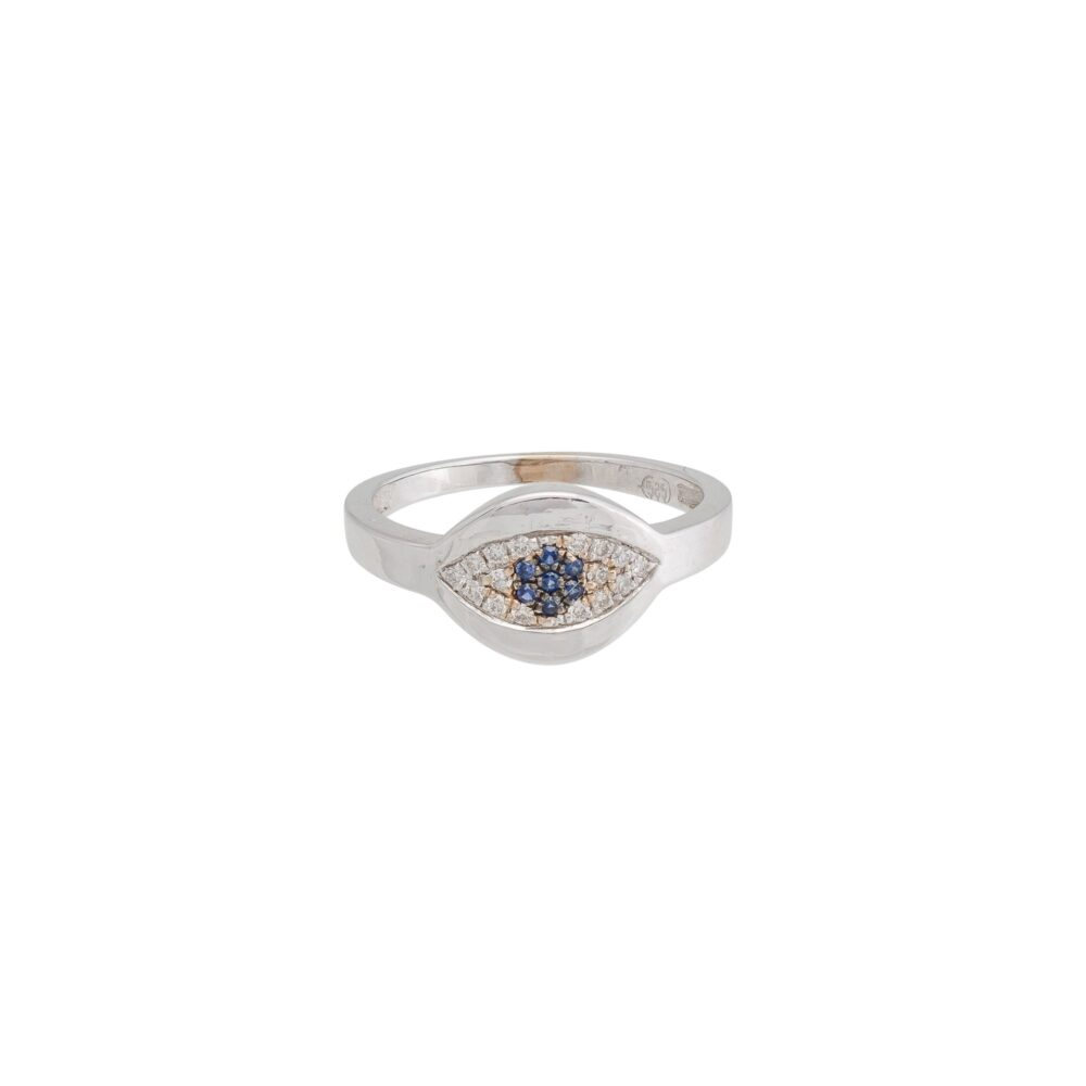 Diamond Evil Eye with Sapphire Signet Pinky Ring 14k White Gold