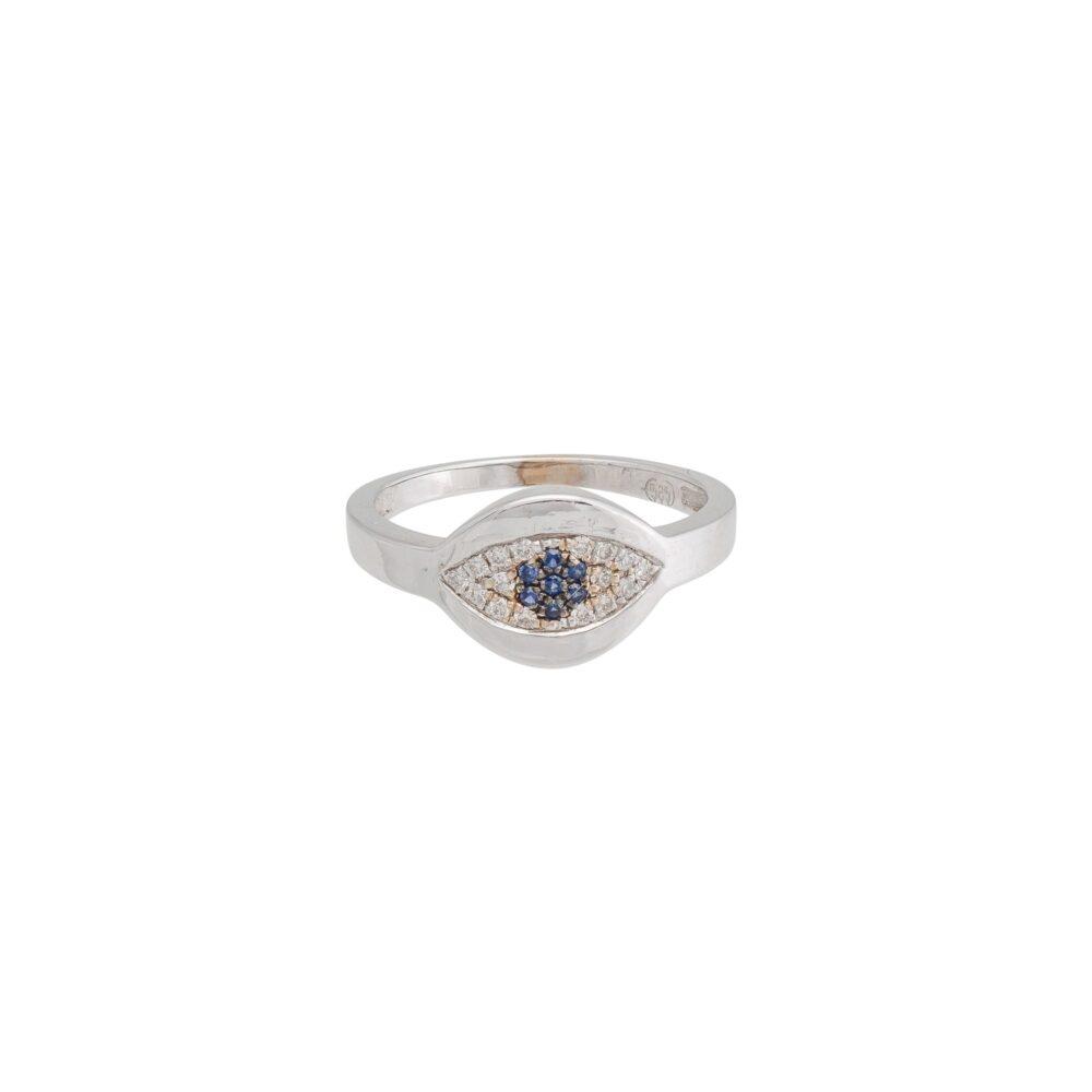 Diamond Evil Eye with Sapphire Signet Pinky Ring 14k White Gold