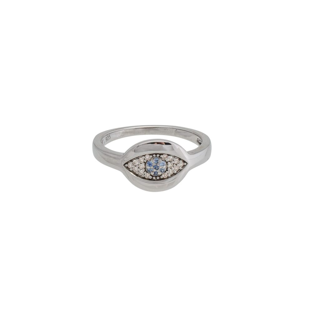 Diamond Evil Eye with Sapphire Signet Pinky Ring Silver