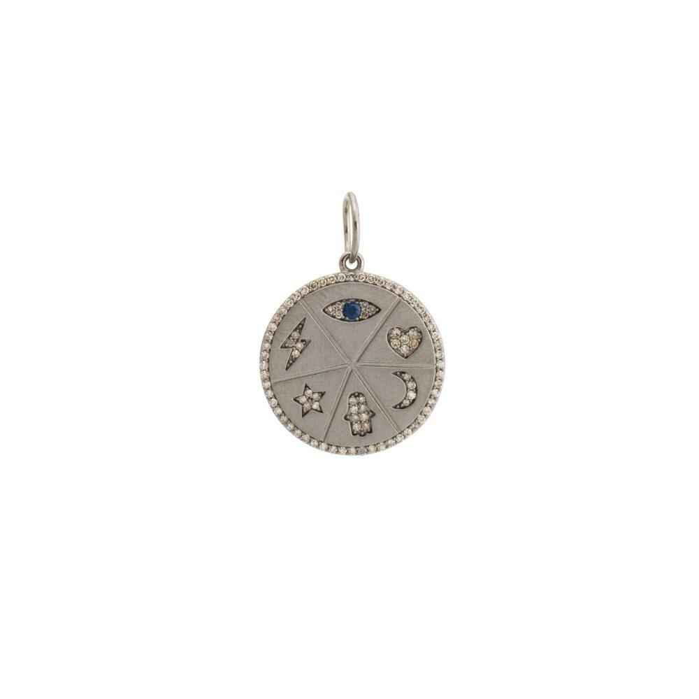 Diamond Good Luck Pendant Sterling Silver