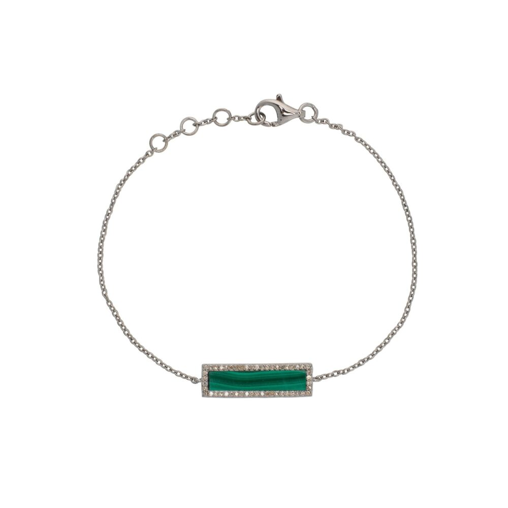 Diamond Malachite ID Bracelet Silver