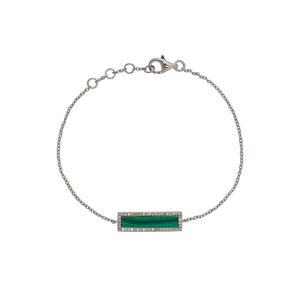 Diamond Malachite ID Bracelet Silver