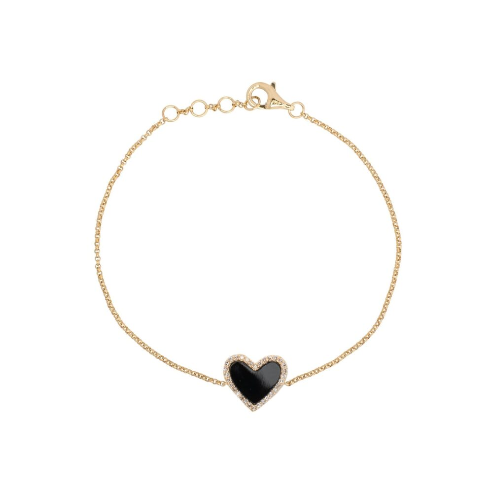 Diamond Mini Black Onyx Heart Bracelet Yellow Gold
