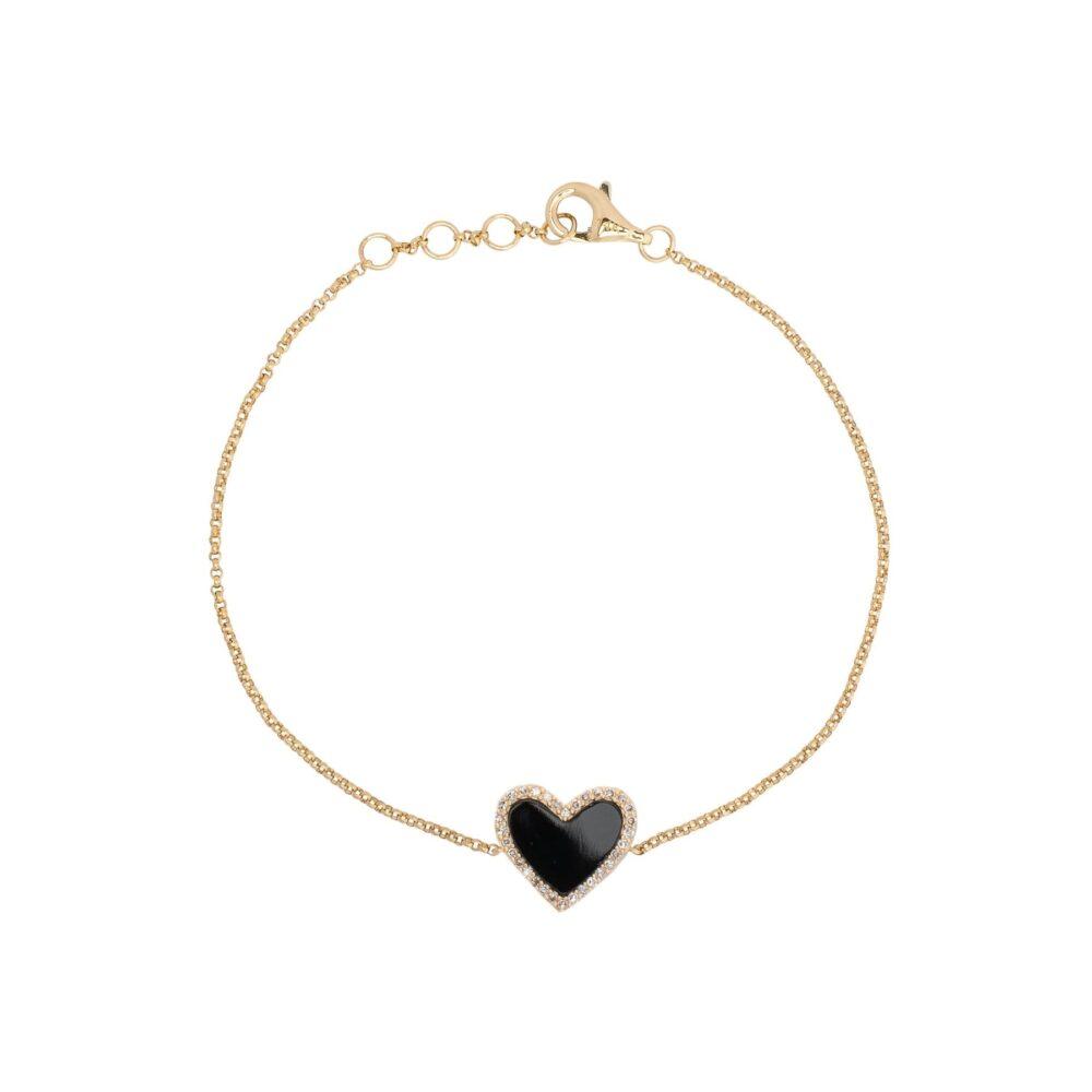 Diamond Mini Black Onyx Heart Bracelet Yellow Gold