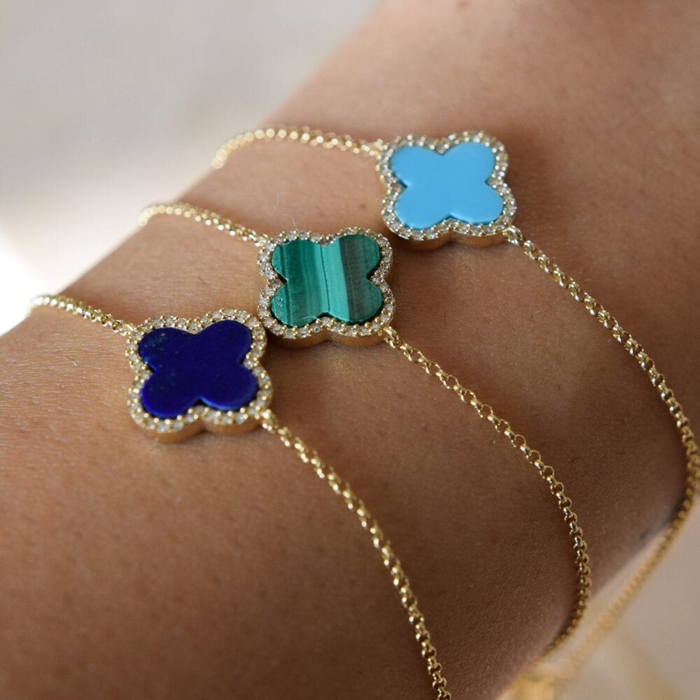Diamond Mini Lapis Clover Bracelet