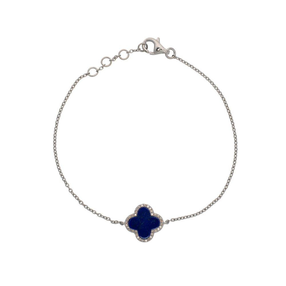 Diamond Mini Lapis Clover Bracelet Sterling Silver