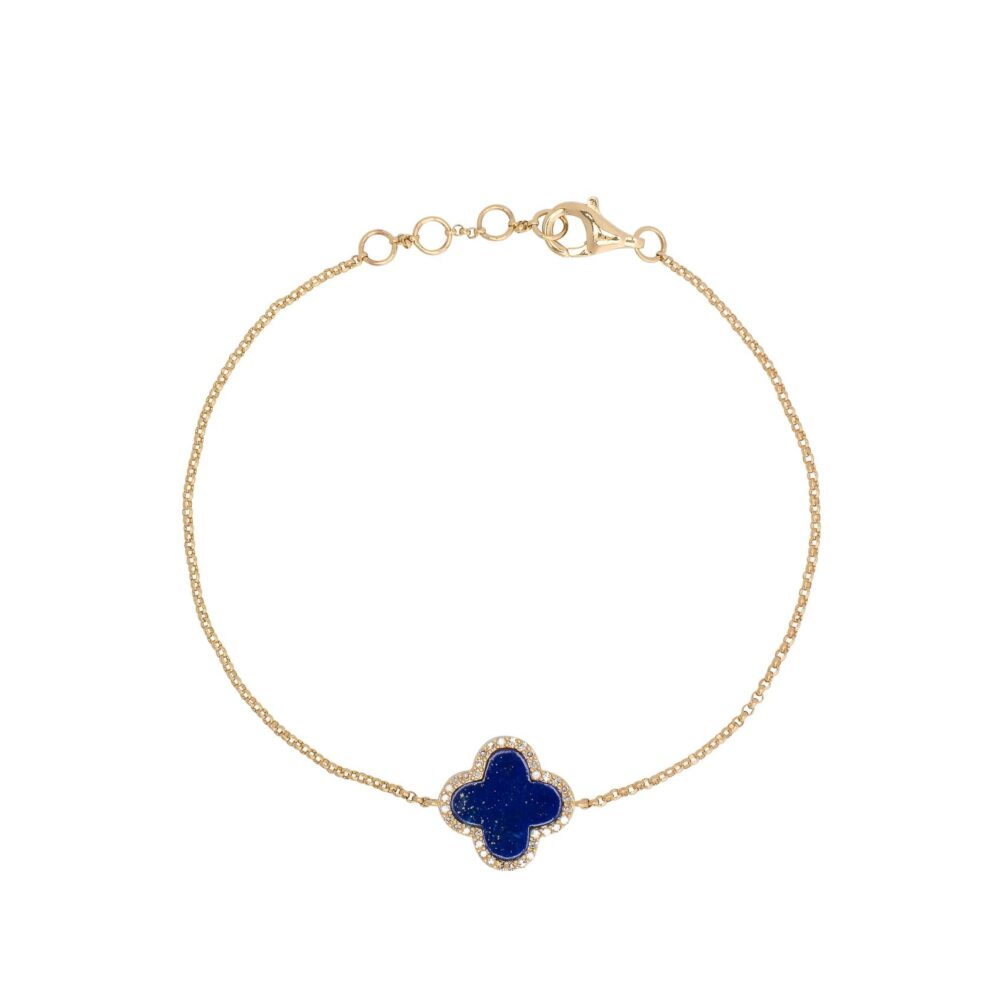 Diamond Mini Lapis Enamel Clover Bracelet Yellow Gold