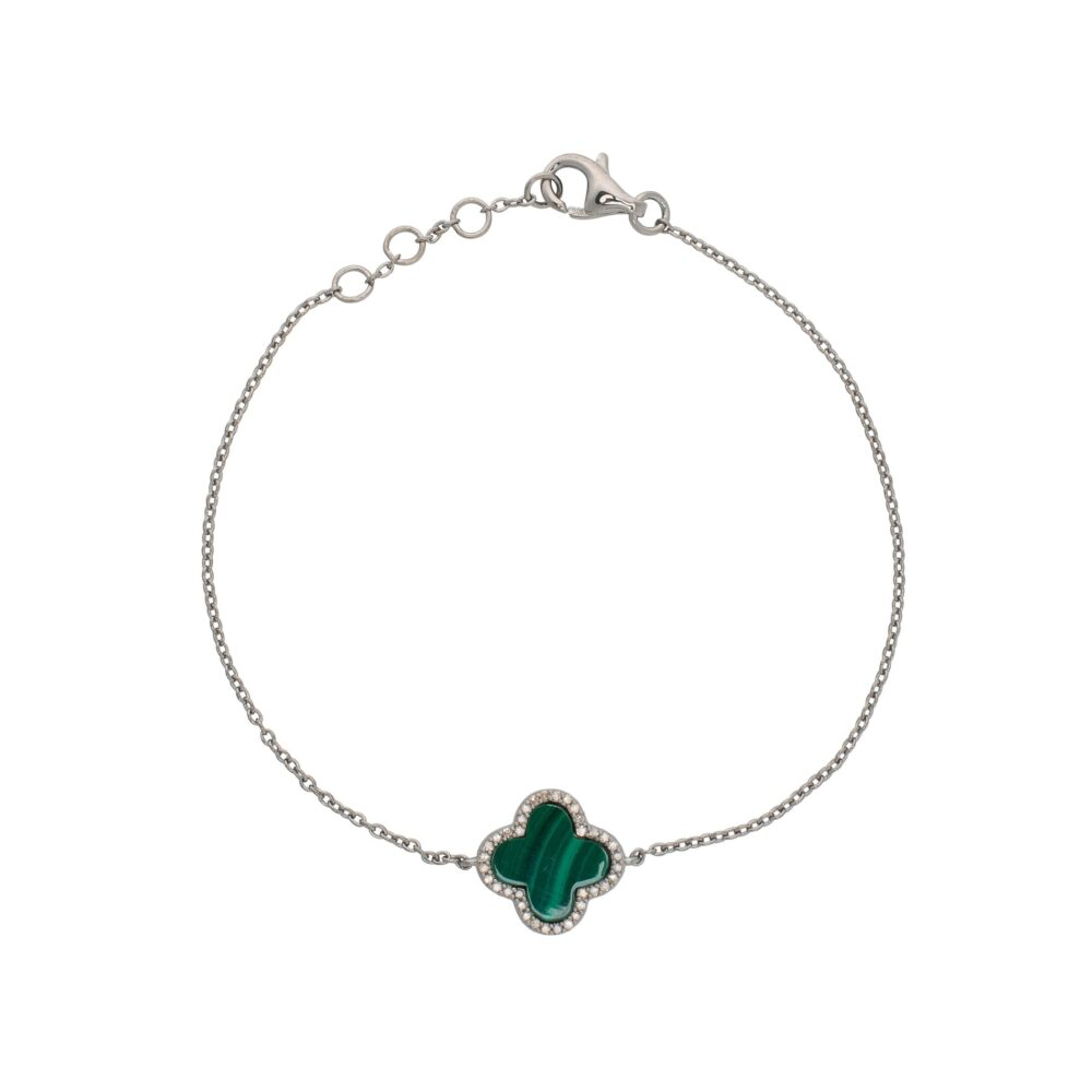 Diamond Mini Malachite Clover Bracelet Sterling Silver
