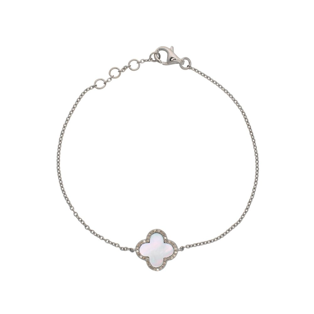Diamond Mini Mother of Pearl Clover Bracelet Sterling Silver