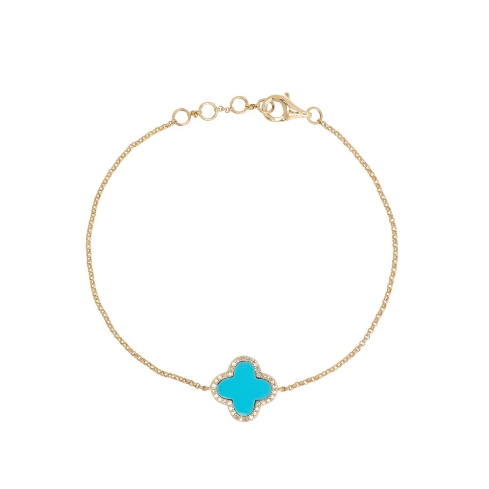 Diamond Mini Turquoise Enamel Clover Bracelet Yellow Gold