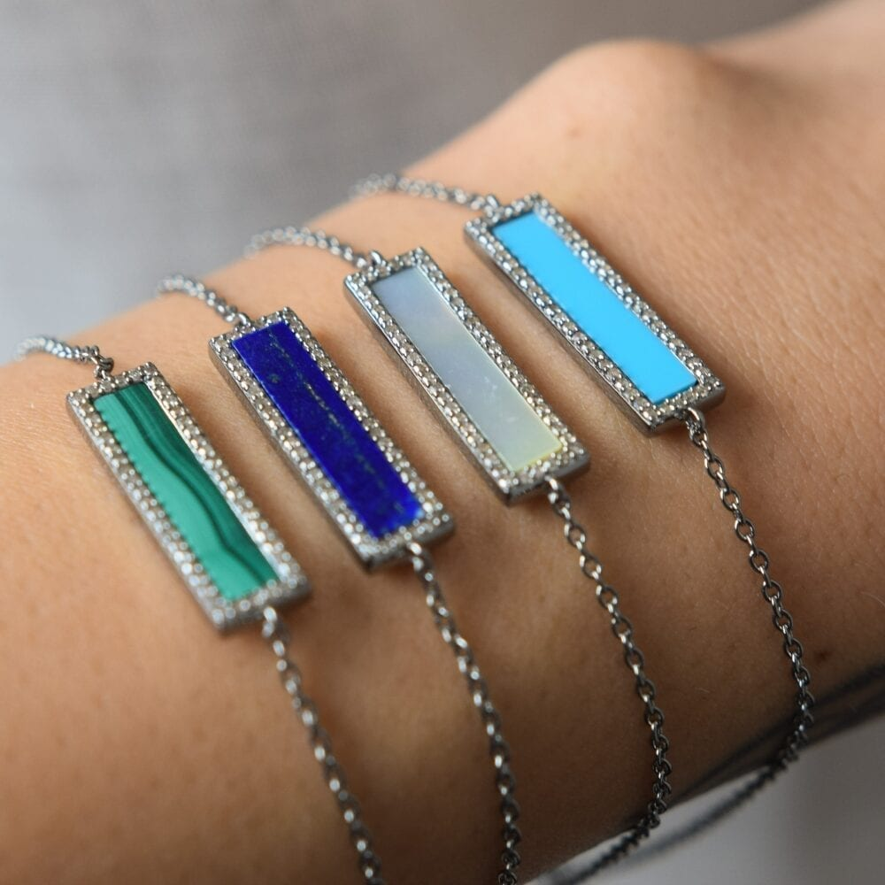 Diamond Mother of Pearl ID Bracelet