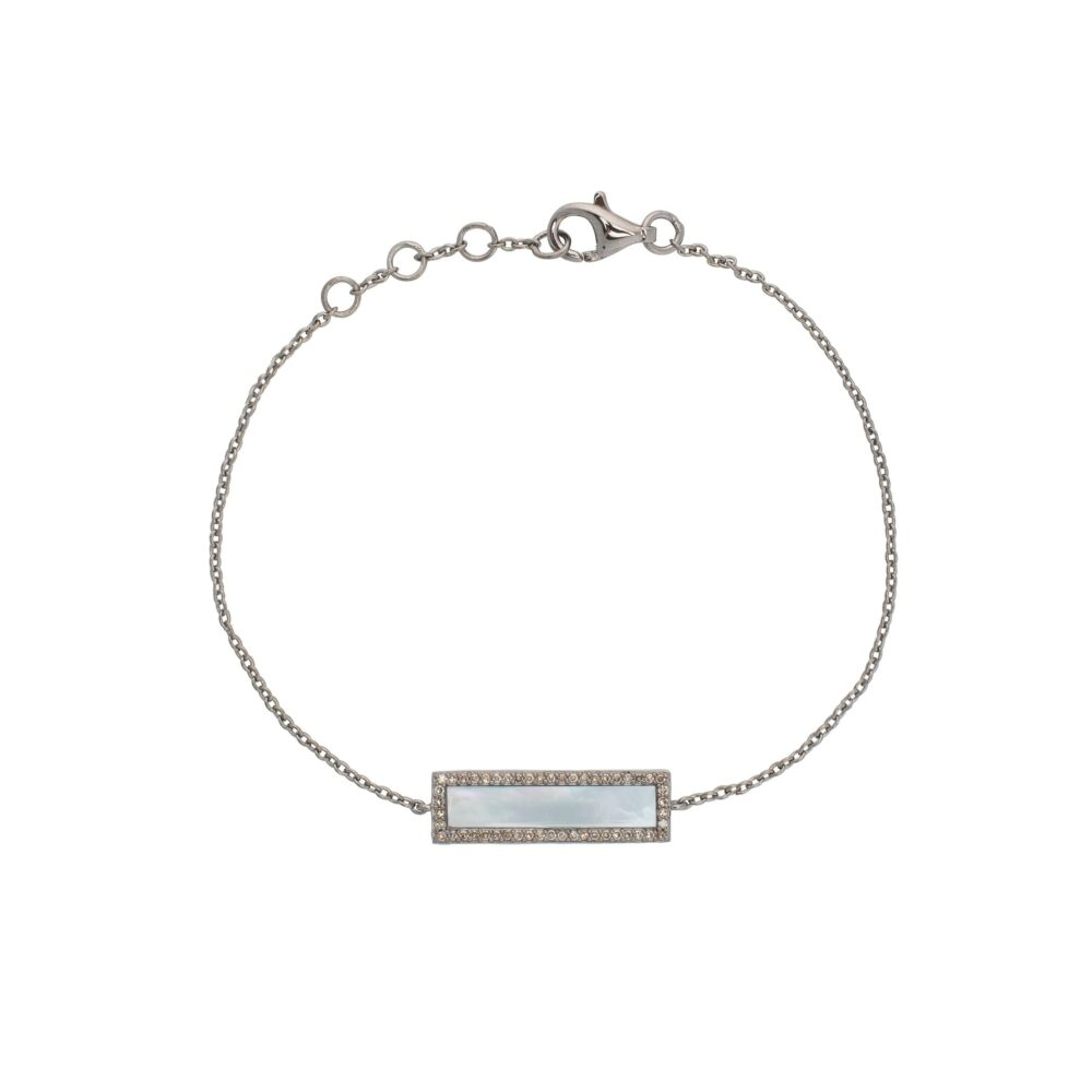 Diamond Mother of Pearl ID Bracelet Silver
