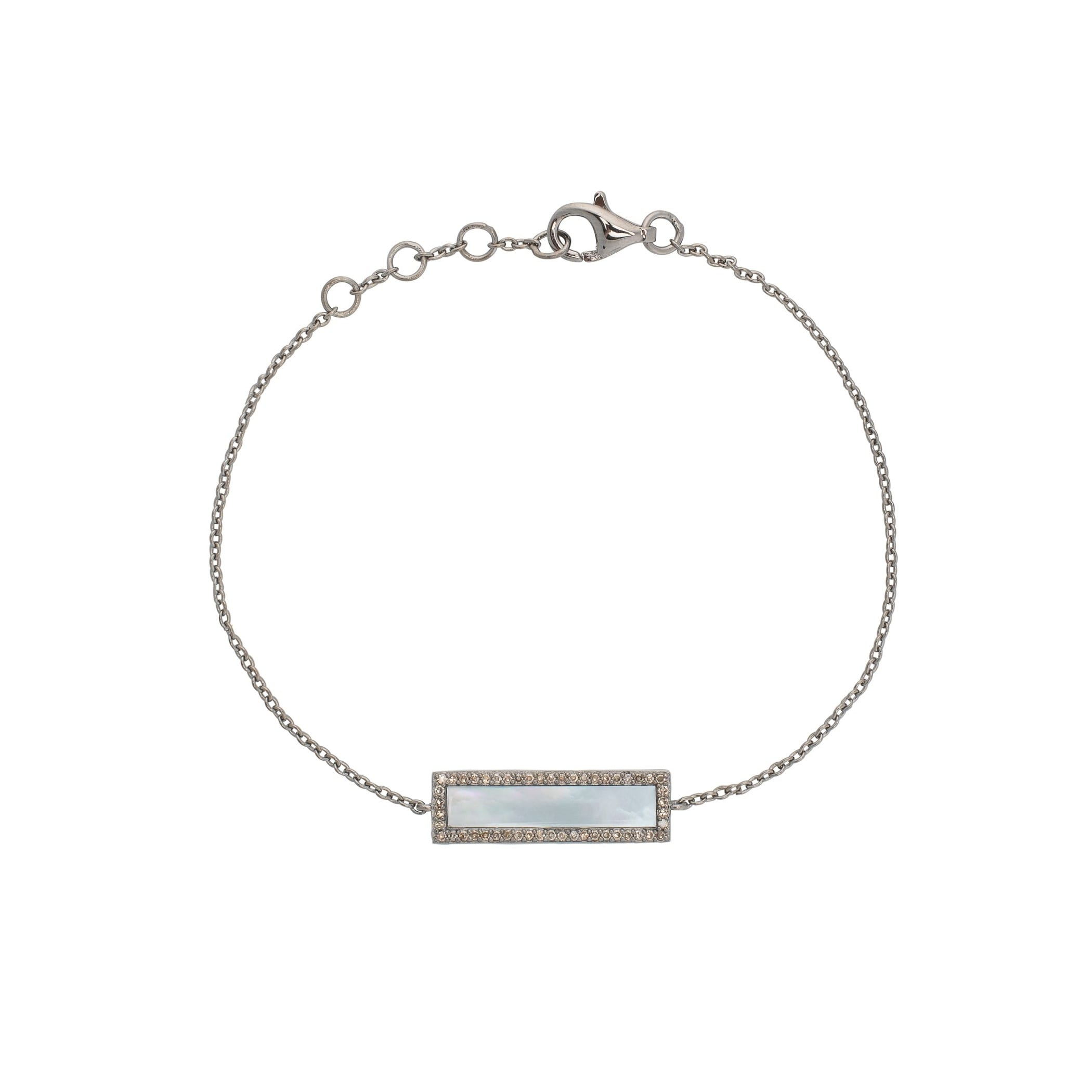 Diamond Mother of Pearl ID Bracelet Silver
